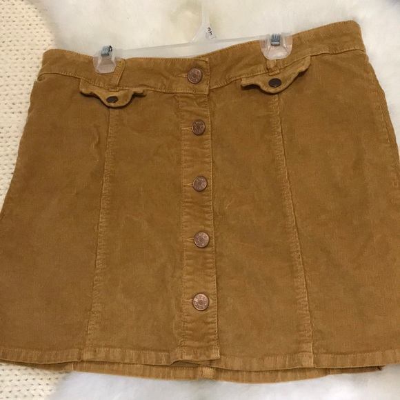 81563dd99b Urban Outfitters Skirts | Mustard Yellow Bdg Button Corduroy Skirt ...